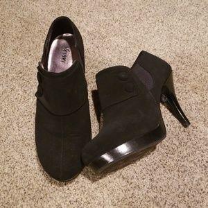 Black suede heel booties